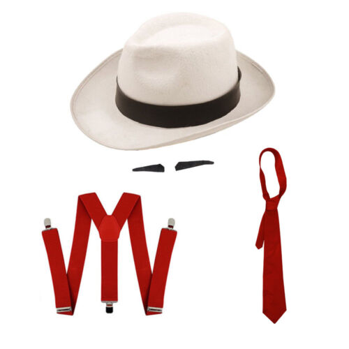 spiv Tash mafia Set Fancy Dress bretelle BIANCO CAPPELLO GANGSTER NERO FASCIA Rosso Cravatta