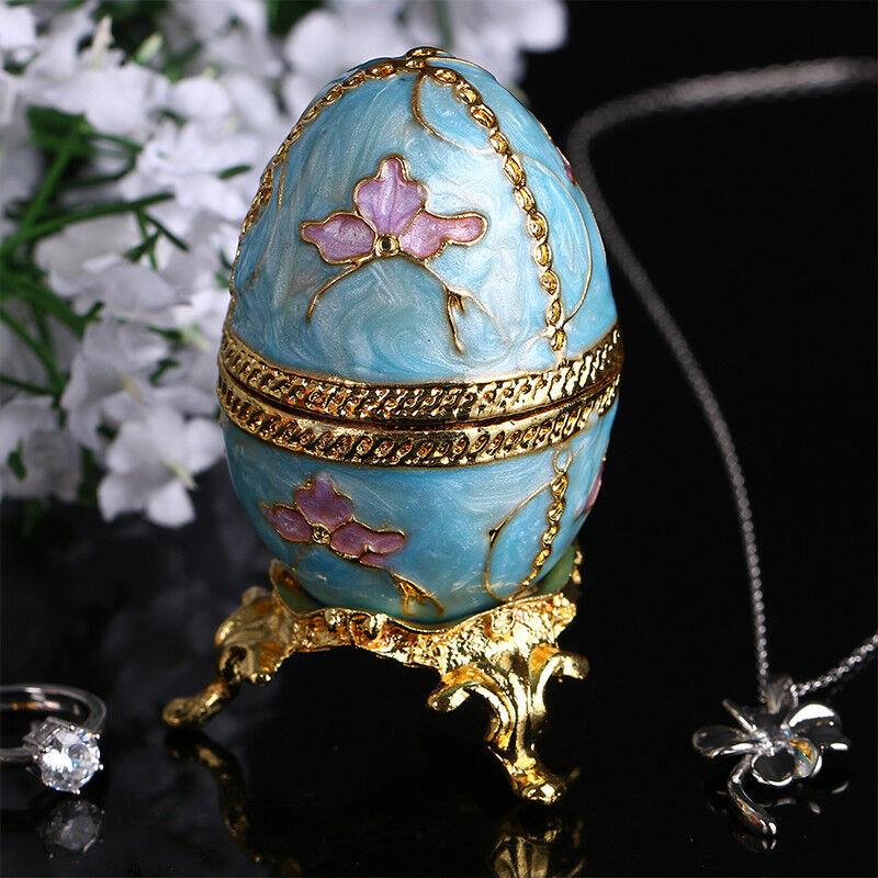 Russian Faberge Egg Jewelry Trinket Box Vintage Egg Figurine Metal Craft gift