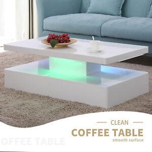 Image Is Loading Dakavia High Gloss Led Lighting Coffee Table In