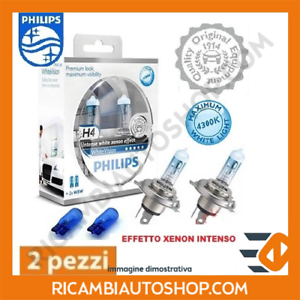 2 LAMPADINE H4 WHITE VISION PHILIPS FIAT PANDA 1.4 KW:74 2006/> 12342WHVSM