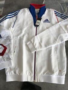 Détails sur VESTE De SURVETEMENT TRG ADIDAS France jacket Men 162 Zip Bleu Blanc Rouge Neuf