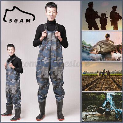 US SGAM Mens Waterproof Waist Wading Pants Overall Boots Waders Fishing Hunti