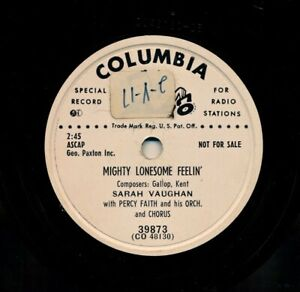 SARAH-VAUGHAN-on-1952-Columbia-39873-Mighty-Lonesome-Feelin-039-Sinner-or-Saint