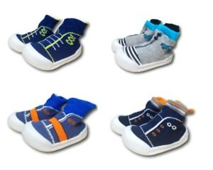 Baby Infant Boy Indoor Non Slip Socks Slippers With Rubber Sole Size 3.5-5