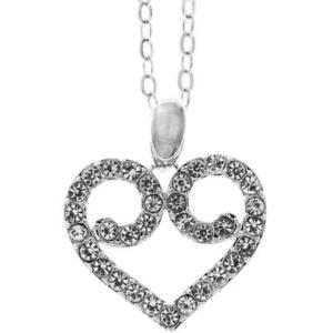 """16"""" 18K White Gold Necklace w/ Heart Crystal Design & Clear Crystals by Matashi"""