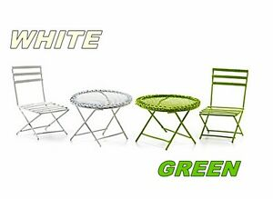 Details About Choice Of Green Or White 2 Pc Miniature Mesh Table Wire Chair Set Fairy Garden