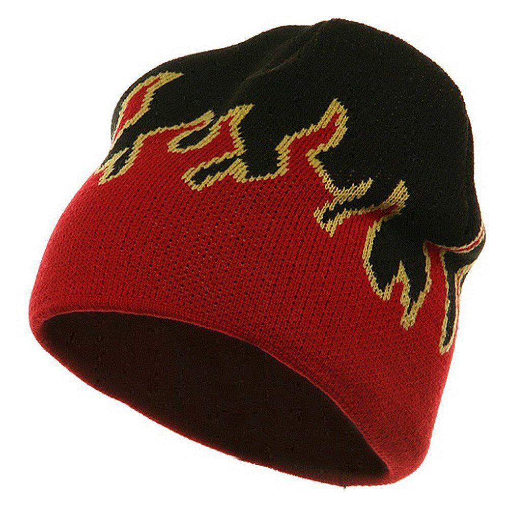 Charcoal Gray Flames Flame Short Fire Beanie Beanies Winter Ski Hat Hats Black