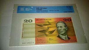 Australia 20 dollars note, johnston-Fraser 1985 graded & certified,no PMG.