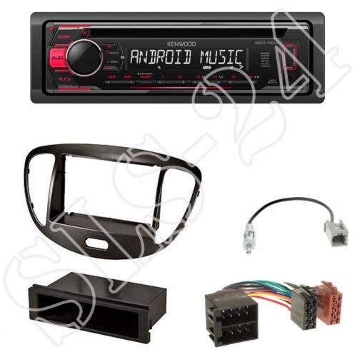 ISO Adaptateur Set Kenwood kdc-120ur CD USB radio HYUNDAI i10 Panneau Noir