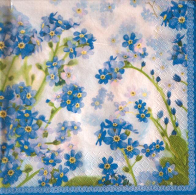 4 x single lovely PAPER NAPKINS for decoupage/ BLUE FLOWERS