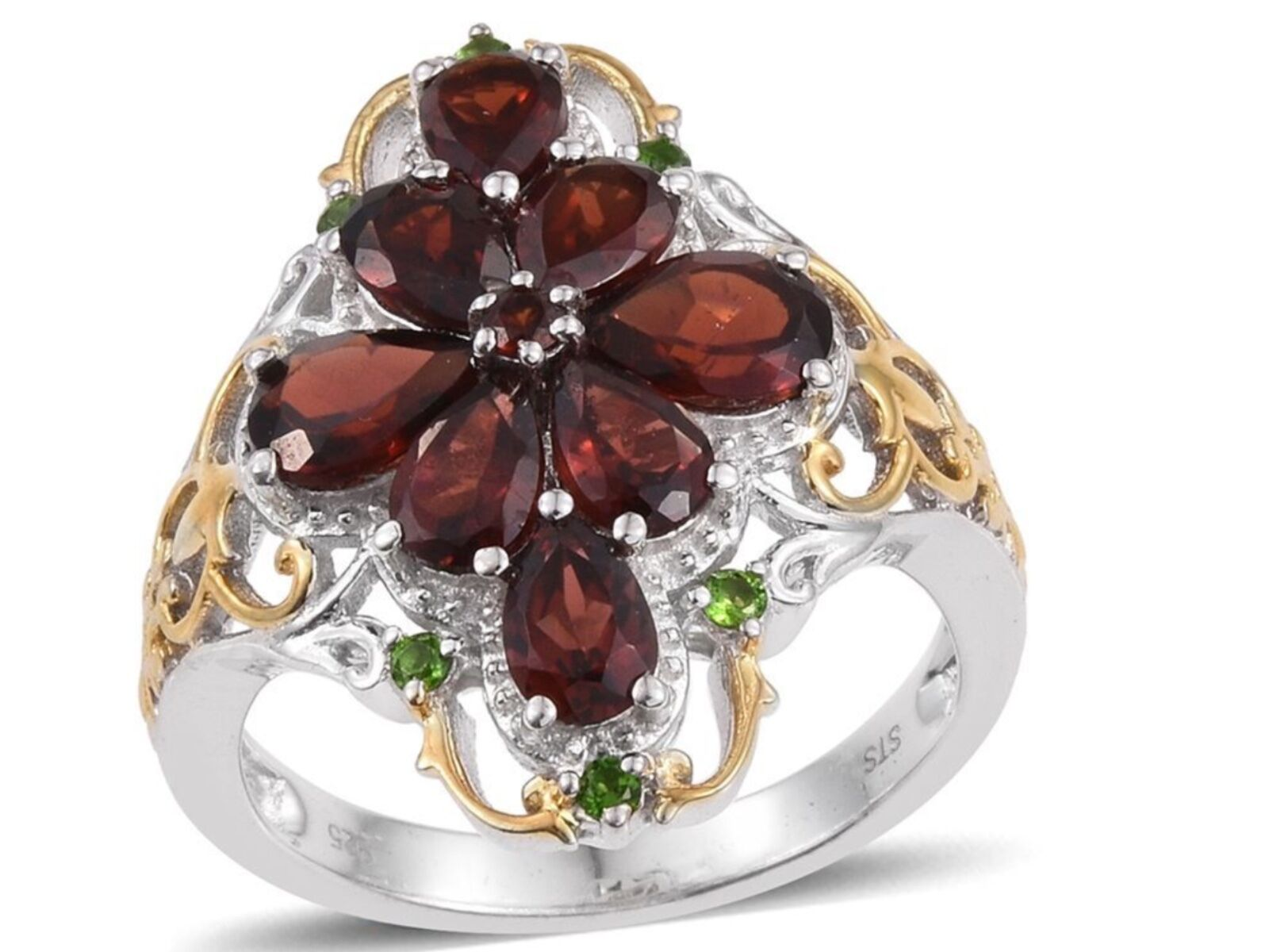 Mozambique Garnet and Russian Diopside Ring