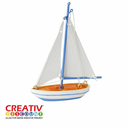 zum Basteln maritime Dekoration Länge 7 x 11cm Miniatur- Segelboot blau-weiß