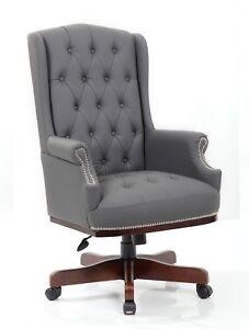 Magnificent Details About Managers Directors Queen Ann Antique Style Pu Leather Office Desk Chair Lamtechconsult Wood Chair Design Ideas Lamtechconsultcom