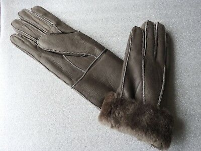 Brown ladies women 100/% genuine real leather sheepskin Sheep Skin gloves