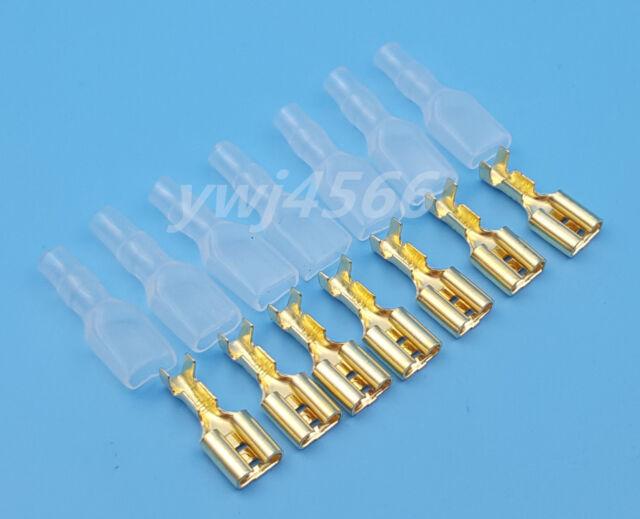 100pcs Copper Female 6.3mm Spade Insulated Electrical Wiring Crimp ...