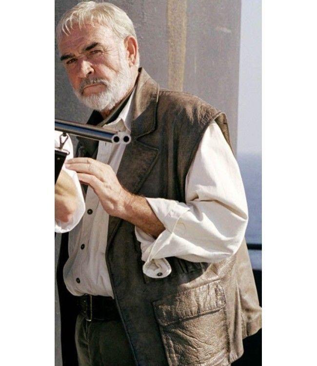 Para  hombres sean Connery Allan Quatermain angustiado marrón Vintage Chaleco de cuero verdadero  precios mas baratos
