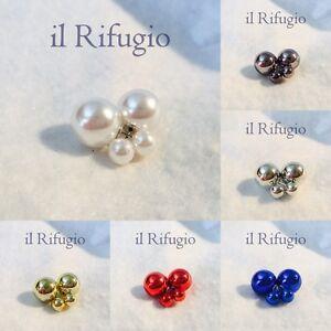 ORECCHINI-con-DUE-PERLE-colore-METALLIZZATO-donna-orecchino-doppia-perla-sfera