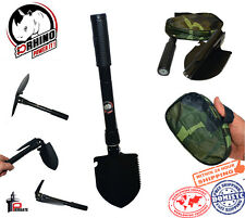 "D-Rhino Folding Shovel 16.5"" Camping Garden Military Style Survival Multi w/Case"