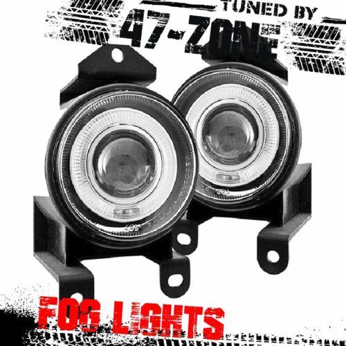 For GMC Pontiac Chrome Housing Clear Lens Halo Projector Fog Lights Lamp