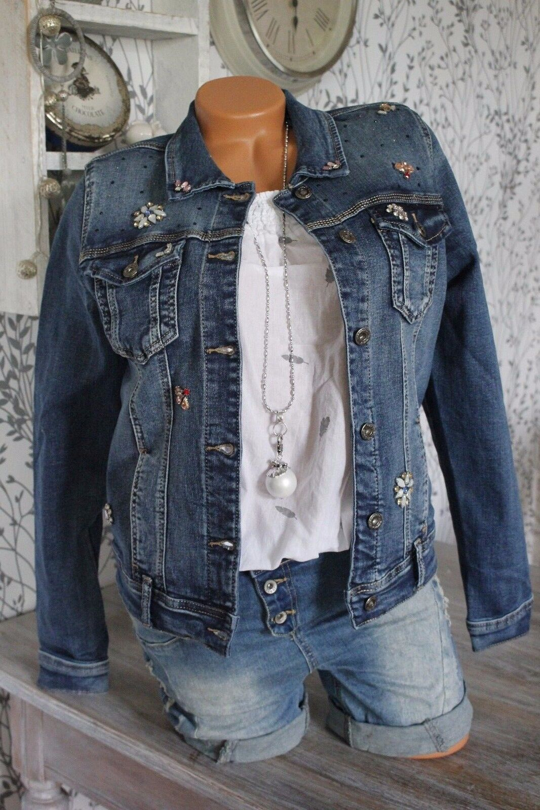 ♥ Jeansjacke Jeans Jacke Strass Flower ARTIKELBESCHR. BEACHTEN BLAU 04 04 04 81251b