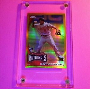 2010-Topps-Chrome-Ian-Desmond-GOLD-REFRACTOR-Rookie-RC-d-5-50-Nationals-MINT