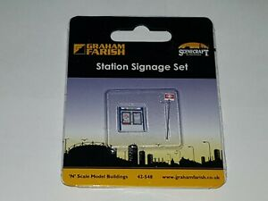 N-Gauge-Graham-Farish-42-548-Scenecraft-Station-Signage-Set-Pre-Built