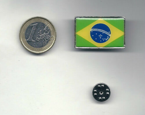 Pin enamel Flag Brasil 2,00 x 3,00 cm Spilla metallo Smaltata Bandiera Brasile