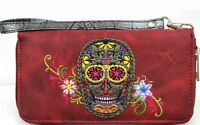 Sugar Skull Wristlet Wallet Red With Zipper Closure With Side Zipper Pocket
