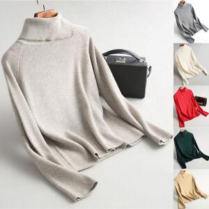 Women-039-s-knitted-cashmere-sweater-winter-warm-turtleneck-Cardigan-Outwear-Coat