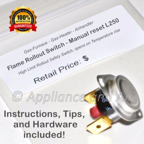 instruct. 47-22861-03 Furnace L250 Rollout Limit Switch Rheem Ruud Weather King