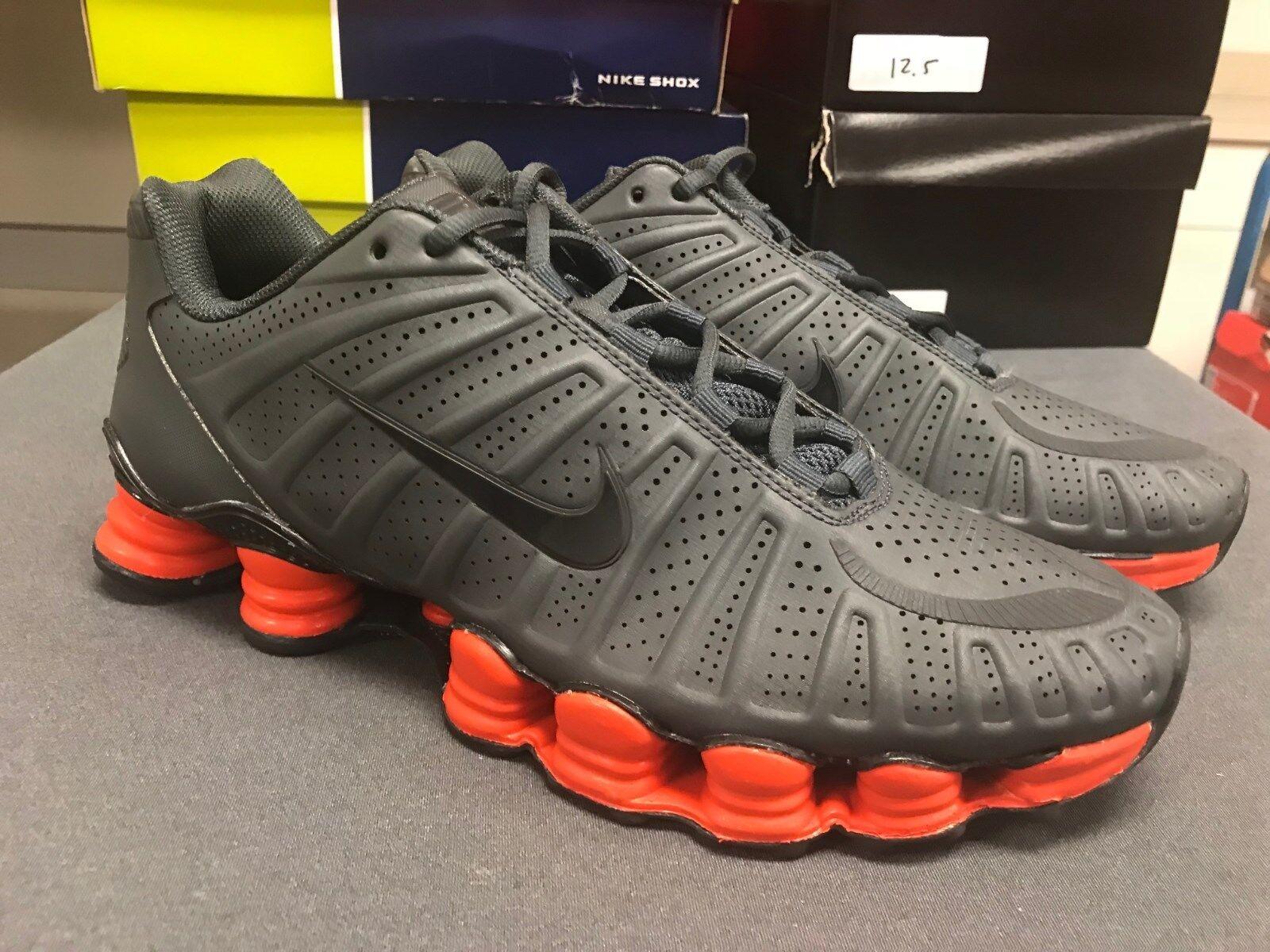 Mens Nike Shox TLX Premium Sneakers New, Grey   orange 488313-019 sku