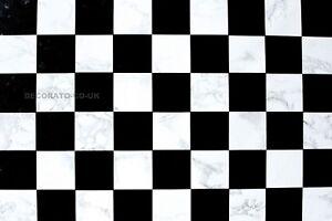 Black White Check Sticky Back Plastic Self Adhesive Vinyl