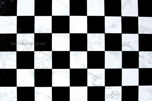 BLACK WHITE CHECK STICKY BACK PLASTIC SELF ADHESIVE VINYL KITCHEN FABLON SKIN