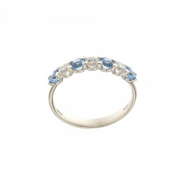 White gold 18 K with cubic zirconia and light bluee quartz woman ring