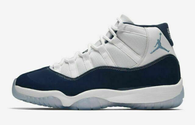 Nike Air Jordan 11 Basketball Shoe for Men, Size 13 - White/University Blue - Midnight Navy