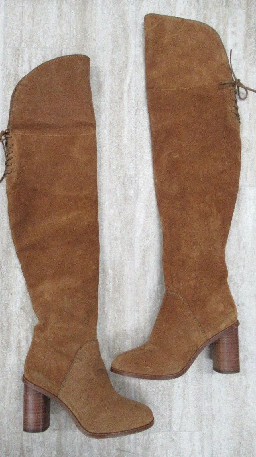 Pour La Victoire  Irina Suede Lace Up Over The Knee Boot Brown - 6 NEW