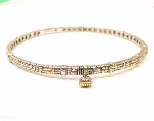Judith Ripka Argent Sterling Or 18K bracelet jonc charme Station Diamond