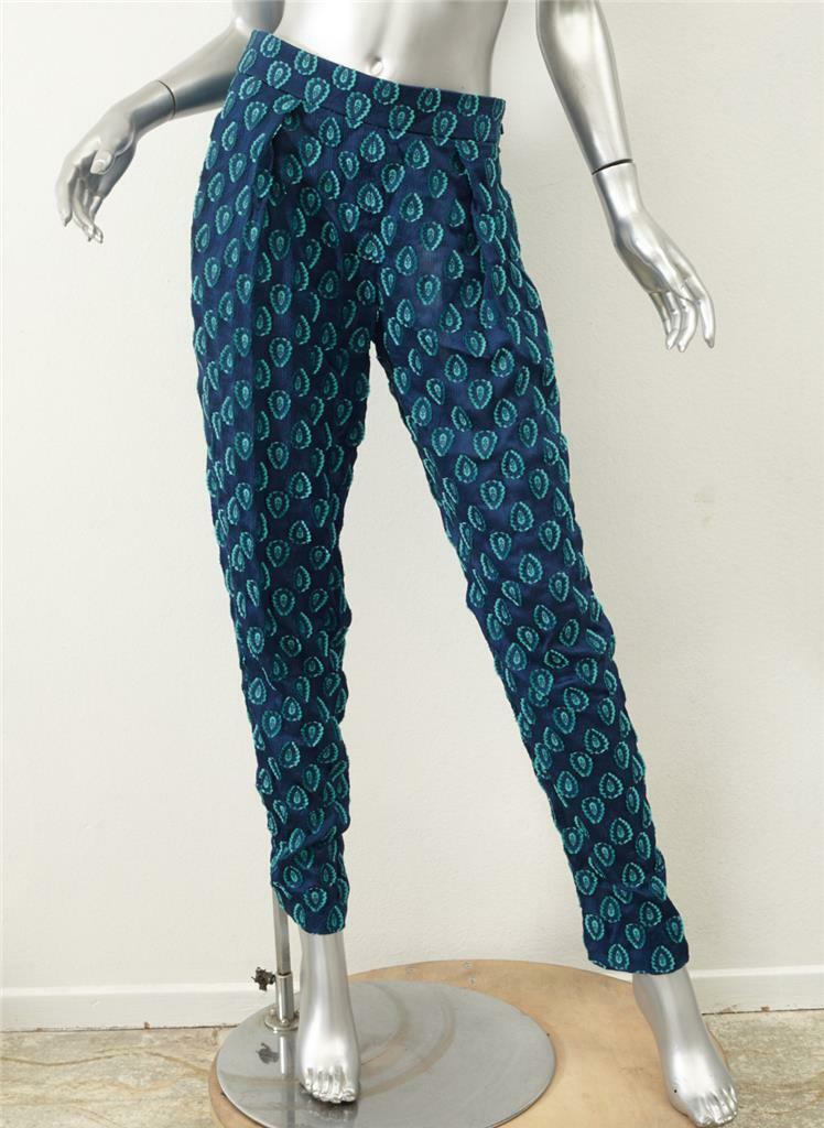 CHLOE Womens Cyan bluee Silk Embroidered Jacquard Medallion Pants 36 4 S NEW