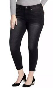 NEW-Seven7-Black-Womens-Sz-24W-Stretch-Skinny-Leg-High-Rise-Jeans-Zip-Ankle-NWT