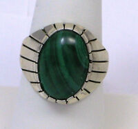 Navajo Indian Ring Malachite Oval Size 10 Sterling Silver Ray Jack