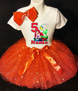 Little Mermaid *With NAME* 5th fifth 5 Birthday Red Tutu dress Fast Shipping