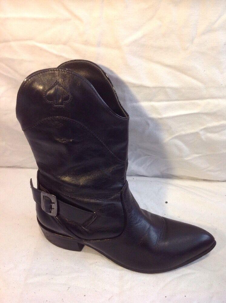 Killah Black Mid Calf Leather Boots Size 37