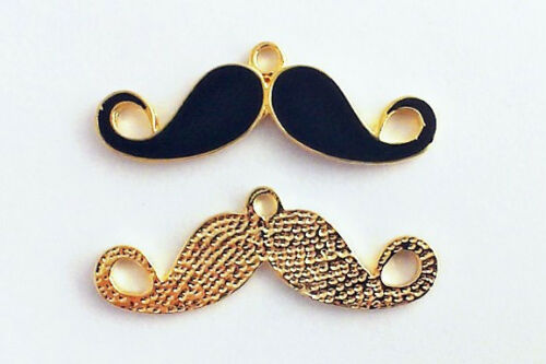 Enamel Moustache Charm choice of colours Gold or Silver Plated 35mm Pack of 2