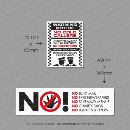 No Junk Mail Letterbox Sticker And No Cold Callers Front Door Stickers Twin Pack
