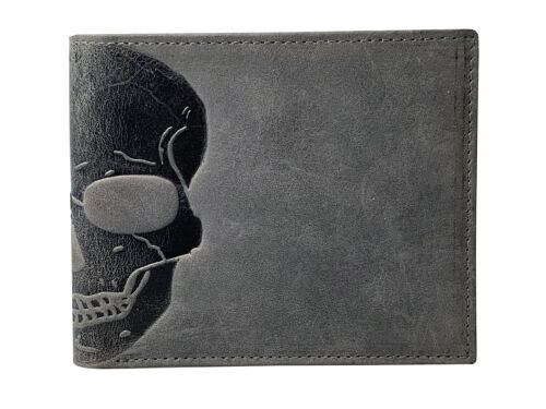 Unique Skull Embossed Distressed Leather Wallet With RFID Shielding Gift Boxed