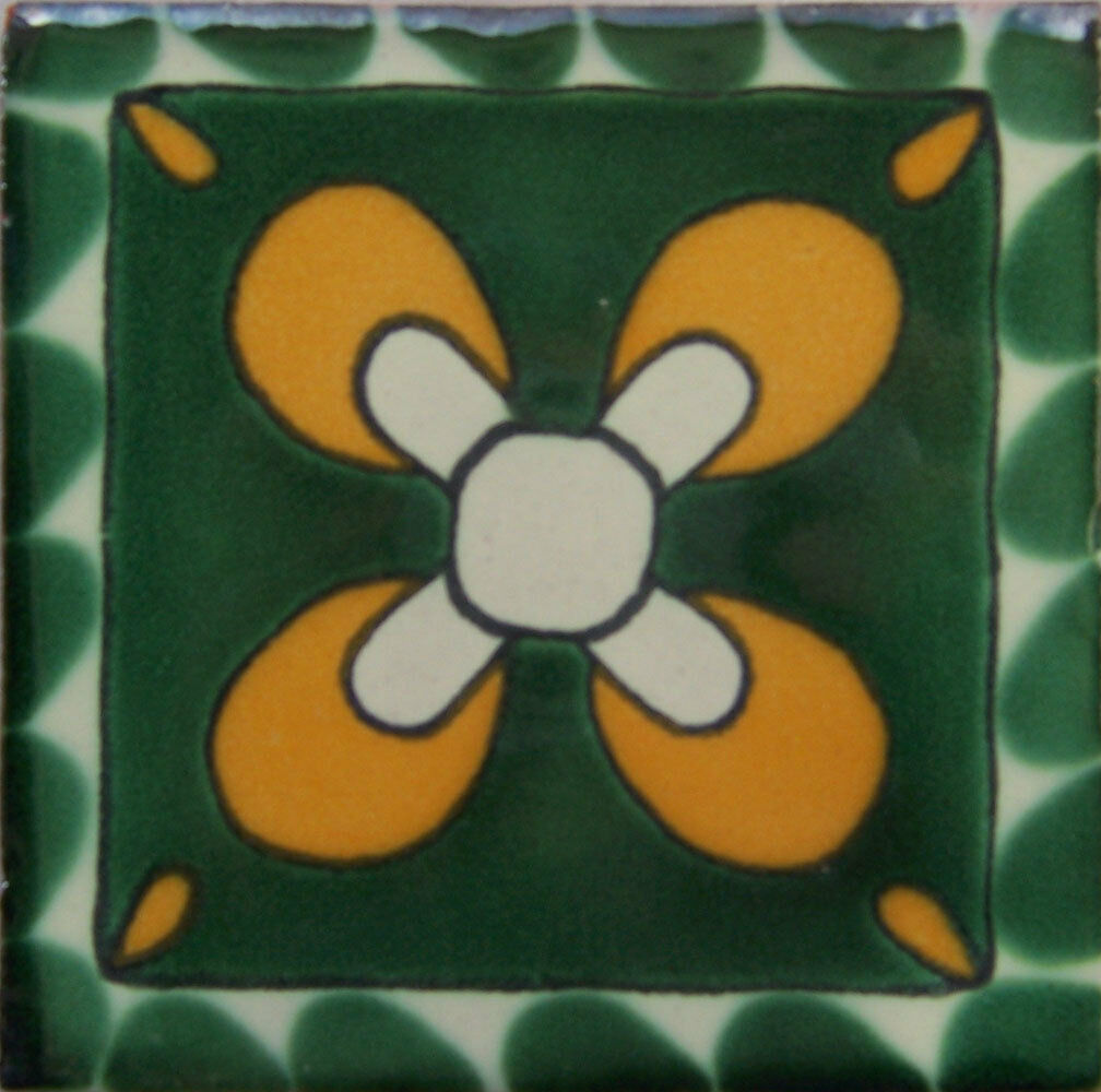 C099- Mexican Handmade Talavera Clay Tile Folk Art 4x4