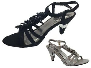 Ladies-Shoe-No-Shoes-Nancy-Strappy-Beaded-Black-or-Grey-Heels-New-Size-5-10