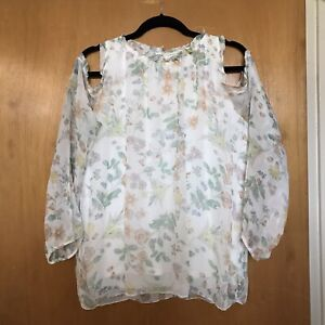 GIUSY-Italy-Womens-Blouse-L-Silk-Floral-Overlay-Long-Sleeve-Cold-Shoulder-Ruffle