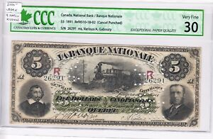 1891-Banque-Nationale-5-Canceled-Bank-Note-Very-Fine-30-9-notes-known