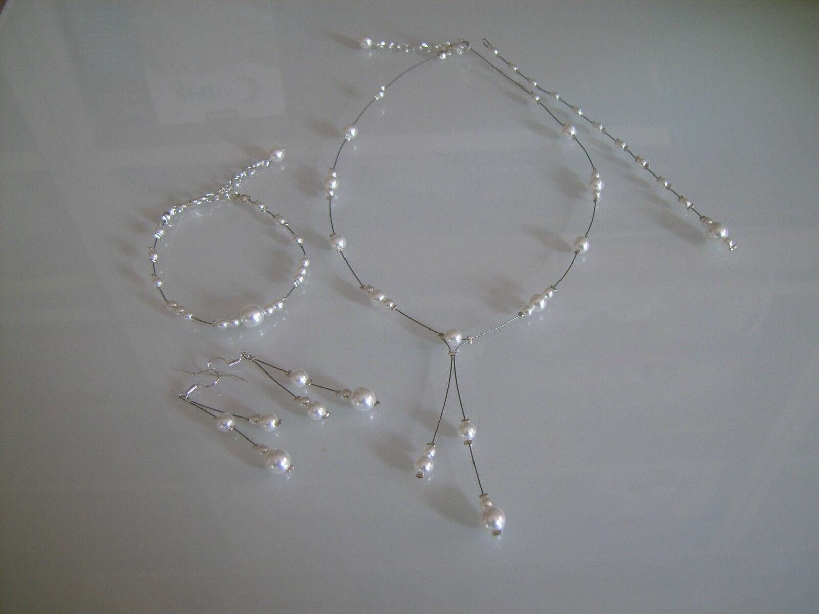Parure white Collier Bracelet Boucles Bijou dos Mariage Mariée robe pas cher
